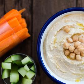 quick hummus and veggies